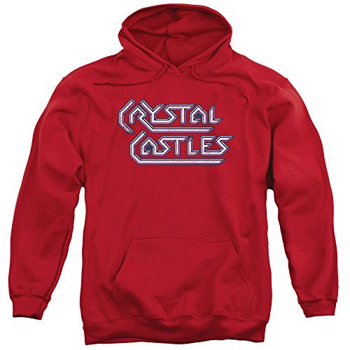 Atari Crystal Castles Logo Unisex Adult Pull-Over Hoodie, Red, S to 3XL