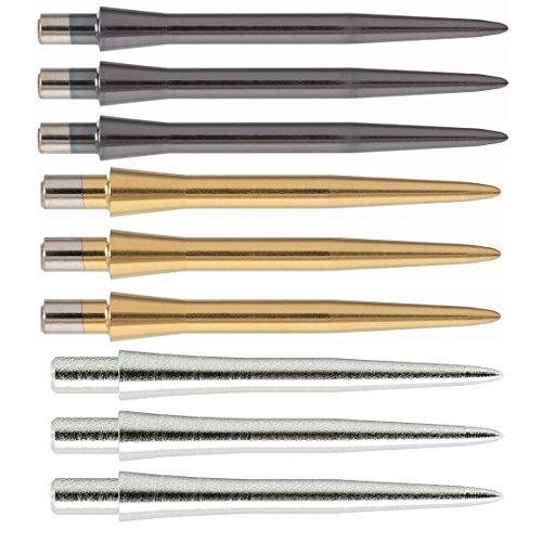 Bullydarts Target Storm Dart Punkte–Schwarz/Gold/Silber–26mm/30mm–1Sets (3Punkte), Gold