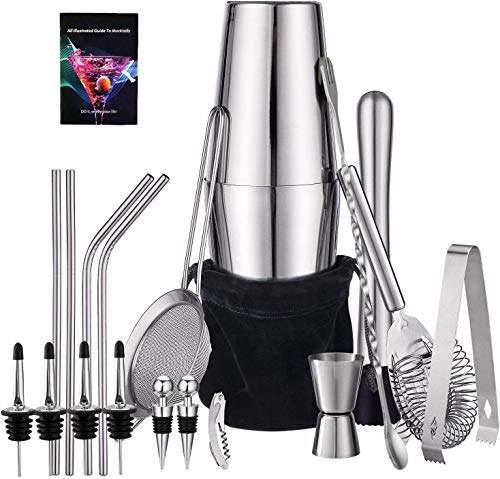 HabiLife 21 Piece Cocktail Shaker Set - Stainless Steel Bartender Kit Bar Set with 25oz/18oz Boston Shaker, Muddler, Double Jigger, Mixing Spoon & More, Perfect for Home Bars and Parties, Silver