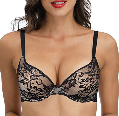 44A Push Up Lace Bra Padded Underwired Lift Comfort Bras Add One Size Everyday Demi Cup Black and Beige