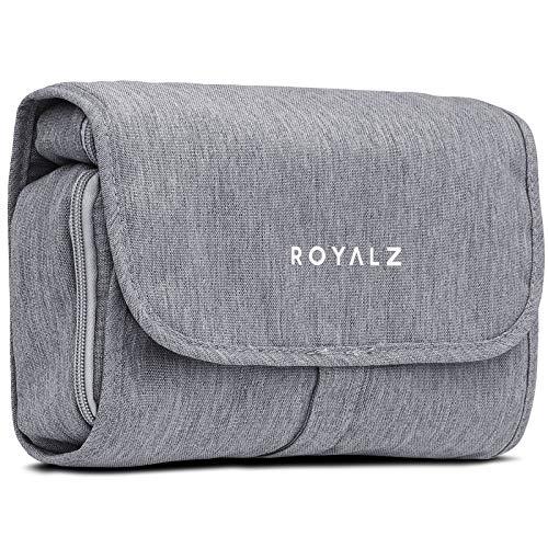 ROYALZKulturtasche zum Aufhängen Waschtasche Waschbeutel Reise Kulturtbeutel für Damen Herren Wasserabweisend Leicht, Farbe:Grau