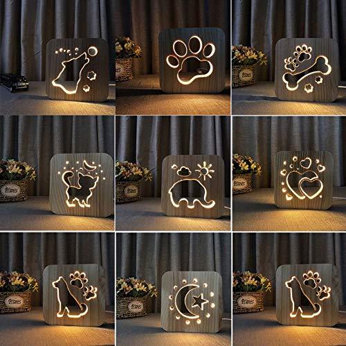 Only 1 Piece 3D Wooden Dog paw cat Light Childrens Bedroom Decoration Warm Light cat Bulldog LED USB Children Night Light Gift