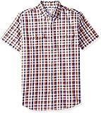 Amazon Essentials Men's Regular-Fit Short-Sleeve Two-Pocket Twill Shirt, Navy/red Check, Medium