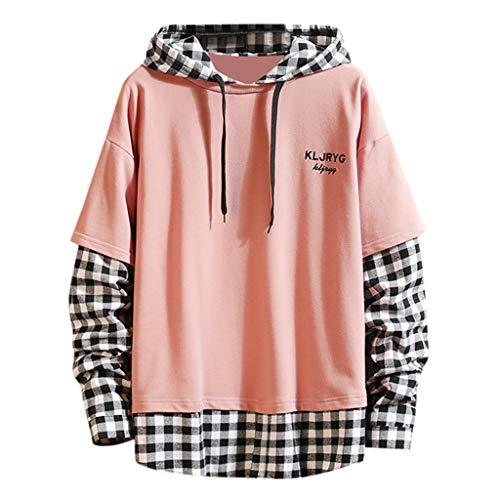 Fenverk Herren Hoodie Kapuzenpullover Langarm Pullover Sweatshirt Kariertes Hemd Bluse Top T-Shirt 2 in 1 Freizeit Oberteil Langarmhemd Plaid Shirt Lose (Rosa,M)