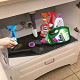 Bathroom/Kitchen Cabinet Mat Shelf Tray Drawer Liner Organizer (36' x 24')– Premium Under The Sink Pad , Absorbent/Waterproof/Washable/Lightweight/Cuttable – Protects Cabinets, Contains Liquids