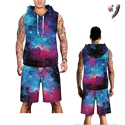 Morbuy Herren Sport ärmelloser Hoodie Shorts, 3D Druck Gym Fitness Kapuze Tank Top Männer Erfrischend Sleeveless Kapuzenpullover T-Shirt Sweatshirt Top Sets (XL, Blauer lila Sternenhimmel)