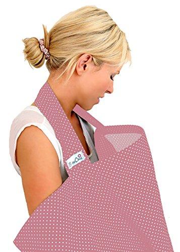 BebeChic * Top-Qualität aus 100% Baumwolle * Stillen Abdeckung mit Entbeinen * Aufbewahrungstasche * - altrosa / weiß punkt