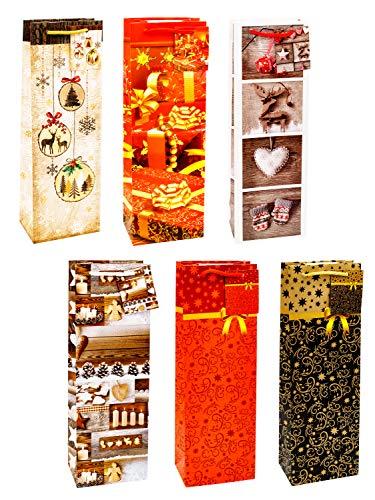 TSI 83289 cadeauzakje Kerstmis Serie 9, verpakking van 12 stuks, grootte: fles groot (36 x 12 x 8 cm)