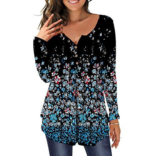 Camiseta para mujer con cuello en V, botones y botones en la parte superior de la camiseta, de manga corta, holgada, informal, de color liso, tallas grandes, blusas elegantes N-rojo XXL