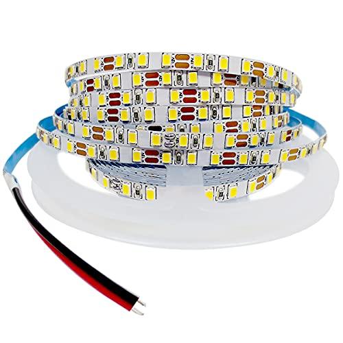 Tesfish Tira de Luz LED 12V, 5mm de Ancho Blanco 6000K 5M Tiras de Luces LED 2835 IP20 120 LEDs/M 600 LEDs en Total, Tiras LED para Dormitorio, Decoración de Cocina