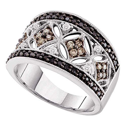 Jewels By Lux Anillo de Oro Blanco con Banda de Diamantes Negros para Mujeres 5.5