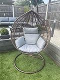 CGC Hand Weaved Rattan Brown Rust Proof Egg Swing Chair