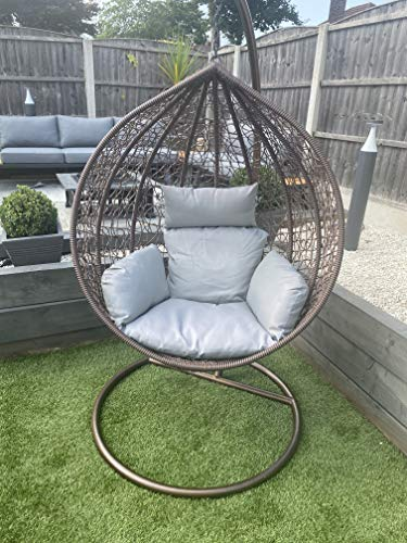CGC Hand Weaved Rattan Brown Rust Proof Egg Swing Chair With Large Grey Cushion Round Shape Outdoor Garden Patio Indoor Hanging