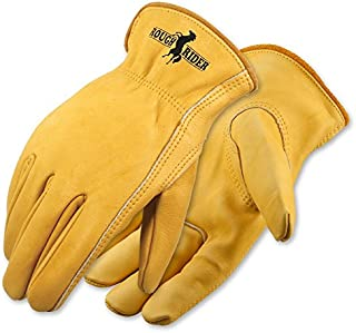 Galeton 2505-M Rough Rider Premium Leather Gloves Sewn with Heat Cut Resistant Thread (Pack of 12), Medium, Gold