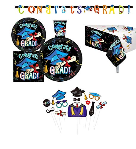 Serves 30 | Complete Party Pack | Congrats Grad Party Supplies | 9' Dinner Paper Plates | 7' Dessert Paper Plates | 9 oz Cups | 3 Ply Napkins | 2 Table Cover | 12 Photo Props | 1 Banner | Graduation Party Supplies Graduation Party Theme