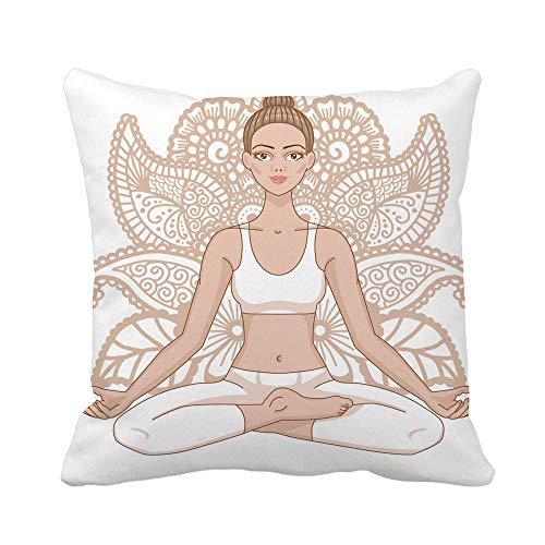 N\A Throw Pillow Cover Mujer en Paisley Mehndi Ormanent Yoga Lotus Pose Padmasana Funda de Almohada Funda de Almohada Cuadrada Decorativa para el hogar Funda de cojín