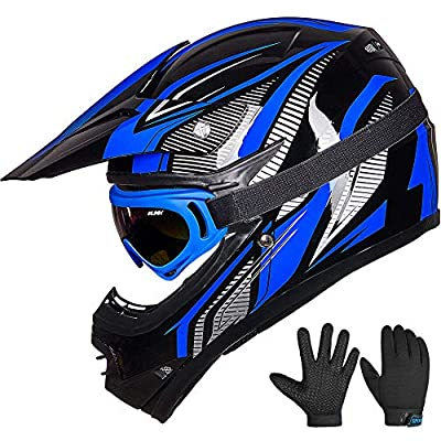 ILM Youth Kids ATV Motocross Dirt Bike Motorcycle BMX Downhill Off-Road MTB Mountain Bike Helmet DOT Approved (Youth-L, Blue/Silver)