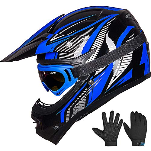 ILM Youth Kids ATV Motocross Dirt Bike Motorcycle BMX Downhill Off-Road MTB Mountain Bike Helmet DOT Approved (Youth-M, Blue/Silver)
