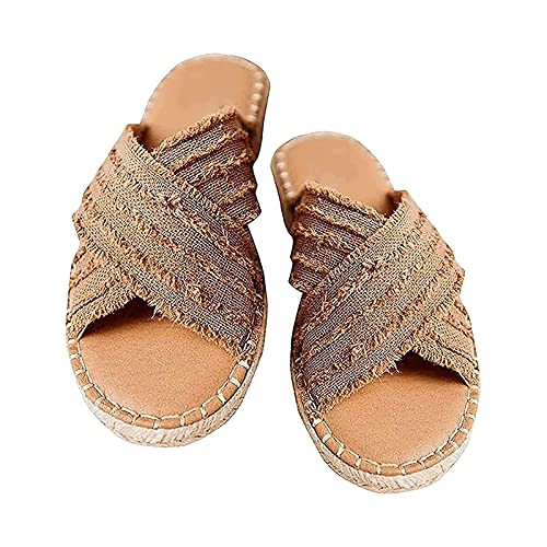 Cleo Espadrille Slides,Summer Casual Beach Sandals, Women's Summer Flat Sandals, Open-Toed Sandals, Comfort Cross Sandals, Women's Fashion Sandals, Open-Toed Sandals 40 Brown