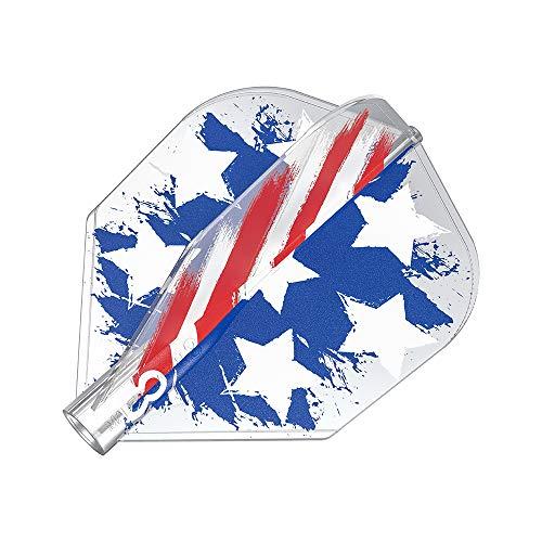 8 Flight Unisex-Adult USA Stars and Stripes Flag Clear No. 6 Shape Pro Dart Flights für Dartpfeile Geformtes System, No.6