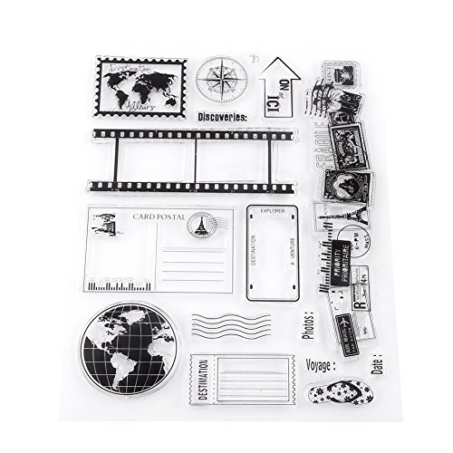 Clear Silicone Stamps Earth Map Travel Theme Patterns Rubber Seal Postage Stamp for Bullet Journals Card Making Decoration, Scrapbooking, Scrapping and Journals