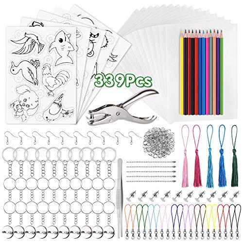 PLULON 339 STK schrumpffolie Set, 20 leeres schrumpfendes Dinkpapier, 5 Schrumpfkunstpapier mit Muster, Locher, Buntstifte, Schlüsselanhänger Zubehör für DIY Ornamente, Kunsthandwerk