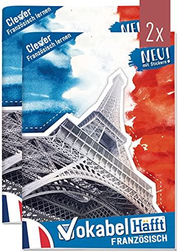 2 x Vokabelheft Französisch A5 mit 2 Spalten by Häfft | liniert 64 Seiten | mit Sprüchen, Infos zu Kultur und Umgangssprache, Grammatik, Lernkontrollsystem, Stickern u.v.m