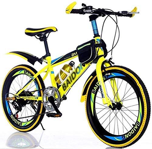 Bicicleta infantil de 20 pulgadas para hombres y mujeres, bicicleta de montaña de campo traviesa, bicicleta de montaña para adultos, senderismo (color: amarillo, tamaño: 20 pulgadas) JoinBuy.R