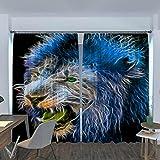 BUFUXINGMA Cortinas Opacas de Salón,Evitar Rayos UV la Luz Proteccion Privacidad,Térmica Aislante Adecuado para Balcon Salón Habitación Dormitorio Leon Azul 90(W) X214(H) Cm * 2 Panel