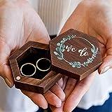 We Do Rotating Hexagon Ring Box (Wood Ring Box for Wedding Ceremony, Ring Bearer Box, Ring Dish Storage)
