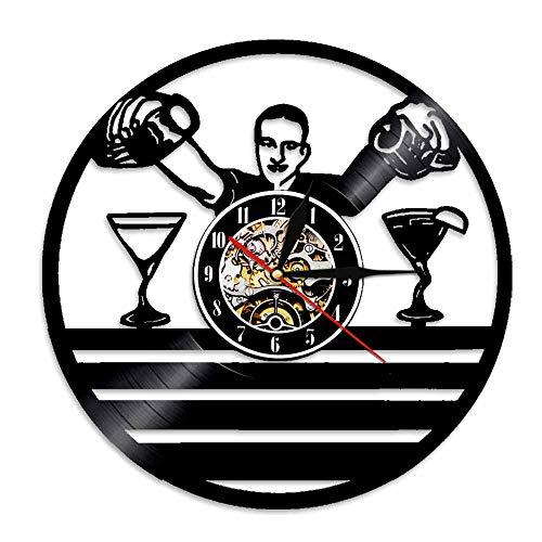LKJHGU Paul Reloj de Pared de Vinilo Cerveza Paul Business Letrero Colgante Personas Decoración Diseño Moderno Cóctel Arte de la Pared Disco de Vinilo Retro Reloj de Pared de Vinilo