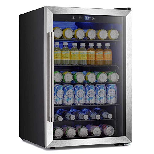 Antarctic Star Beverage Refigerator -145 Can Mini Fridge for Soda Beer or wine,Small Drink Dispenser, For Office or Bar with Adjustable Removable Shelves,4.5 Cu. Ft. (Stainless Steel Silver)