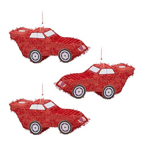 Relaxdays 3X Pinata Voiture Auto à Suspendre pour Enfants à remplir Anniversaire Jeux décoration HxlxP: 24 x 52 x 18 cm, Rouge