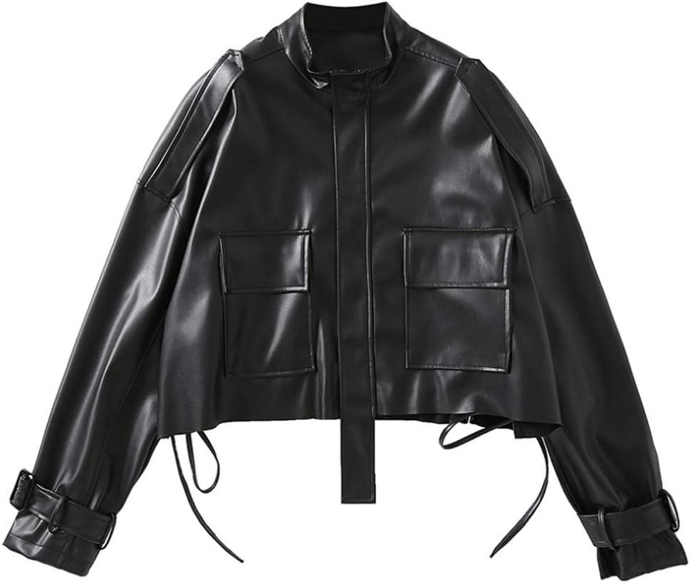 EEKLSJ Women's PU Leather Jacket with Large Pockets, Loose Design, Zipper, Short Black Design