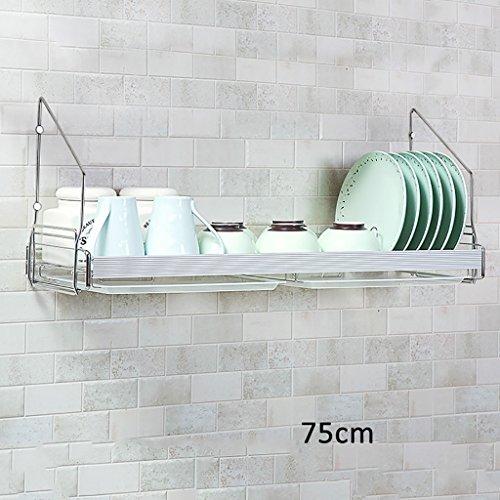 WENZHE Küchenregal Gewürzherd Regal Wandmontage Abtropfgestell Multifunktion Edelstahl Punch/Nicht Punch, 75 23,5 cm D