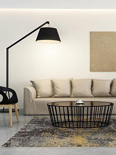 Benuta Teppich Casa, Kunstfaser, Anthrazit/Gelb, 160 x 230.0 x 2 cm, 4053894689673