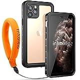 inkolelo wasserdichte Hülle für iPhone 11 pro Schutzhülle Ganzkörper Unterwasser Wasserdicht IP68 Schale Wasserschutzhülle mit Schwimmender Schlüsselband für iPhone 11 pro (Mattschwarz/Orange)
