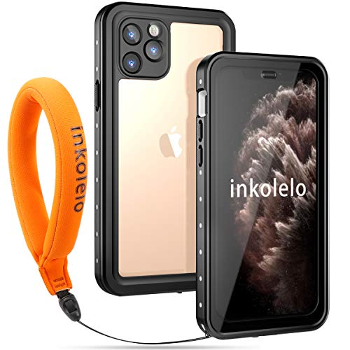 Inkolelo iPhone 11 Pro Waterproof Case, Built-in Screen Full-Body Protector with Floating Strap IP68 Waterproof Case for iPhone 11 Pro 5.8 Inch Case (2019) - Matte Black/Orange