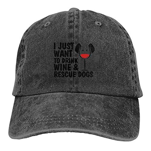 Solo Quiero Beber Vino Perros de Rescate Gorras de béisbol Ajustables Unisex Sombreros de Mezclilla Deporte de Vaquero al Aire Libre