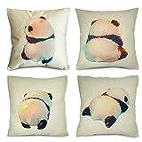 QiRung Lovely Panda Fundas de cojín juego de 4, fundas de almohada decorativas de lino de algodón Fundas de almohada para sofá 45x45cm