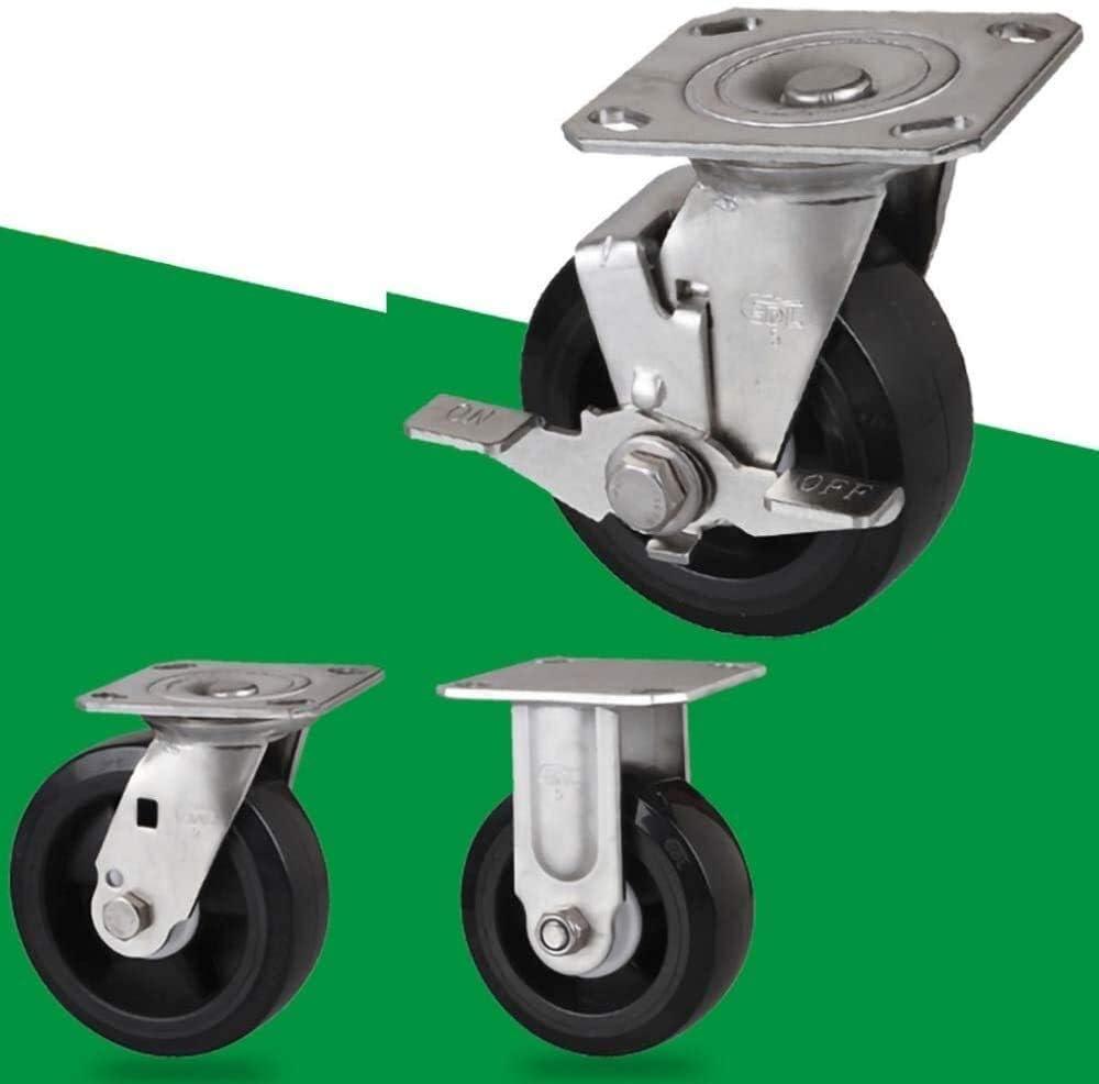 Polyurethane Wheels,304 Stainless Steel Support,Waterproof and Rust-Proof Color : C, Size : 150mm YANJ 1x Heavy Duty Castor,6in//8in Directional Swivel Brake
