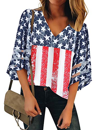 LookbookStore Summer American Flag Shirt for Women V Neck Mesh Panel 4th of July Blouse USA Flag Stripe Printed Patriotic Blouse 3/4 Bell Sleeve Loose Tops X-Large