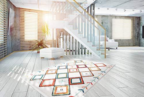 One Couture Flachflor Teppich Modern Fransenteppich Rautenmuster Azteken Musterteppich Multi Wohnzimmerteppich Esszimmerteppich Teppichläufer Flur-Läufer, Größe:80cm x 150cm, MD2516