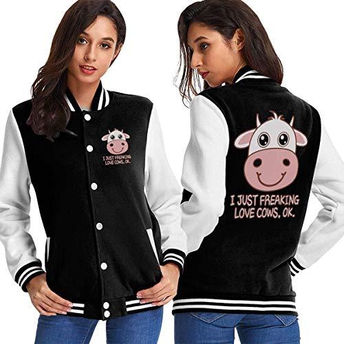 Six23S Frauen Baseball Jacke Mantel I Just Freaking Love Cows OK Women's Casual Baseball Uniform Jacket Cotton Coat