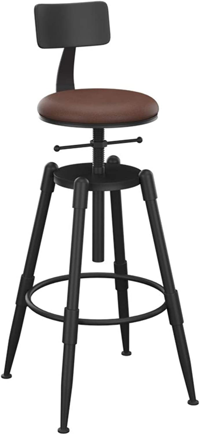 Round redatable Barstool Breakfast Dining Stool for Kitchen Bar Home Commercial Chair Iron High Stool with Backrest and PU Cushion LOFT Industrial Style - Height Adjustable