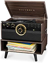 Victrola 6-in-1 Wood Bluetooth Mid Century Record Player with 3-Speed Turntable, CD, Cassette Player and Radio with Storage Stand