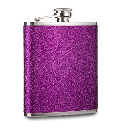7oz Fiaschetta in Acciaio Inox con Glitter Protezione - Viola
