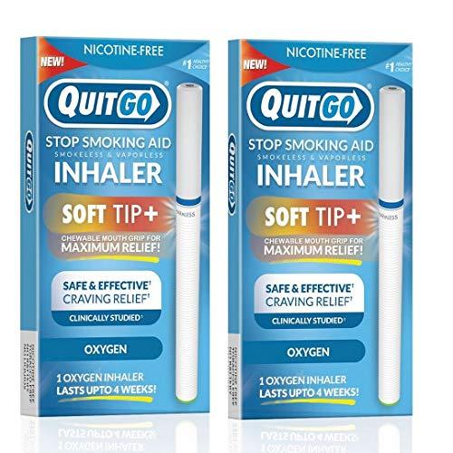 QuitGo soporte de fijación oral, clínicamente estudiado, inhalador de oxígeno para detener el fumar, incluye guía paso a paso (idioma español no garantizado), Pack De 2, Inhalador de oxígeno.