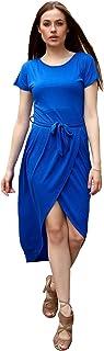 Mac Fly Women's High Low Dress Summer Tie Dress Short-Sleeve T-Shirt Midi Dress