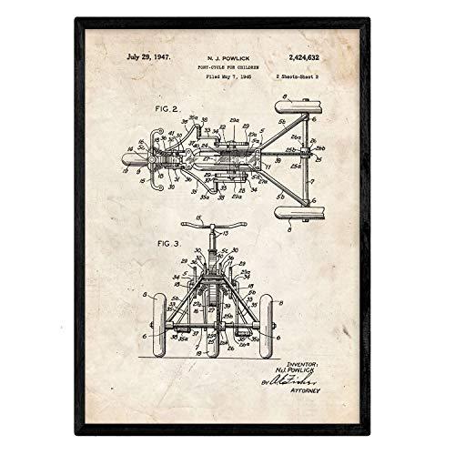 Nacnic Dreirad Patent Poster. Vintage Stil Wanddekoration Abbildung von Spielzeuge und Kinder Puppen. Verschiedene geometrische Alte Erfindungen Bilder ohne Rahmen. Größe A3.